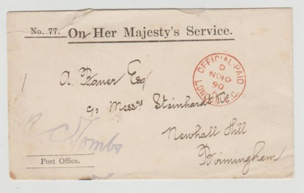 OHMS OFFICIAL PAID LETTER FROM THE POST OFFICE 1890