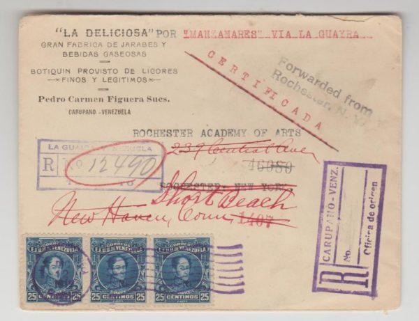 VENEZUELA ENVELOPE REGISTERED & FORWARDED TO USA 1919-20