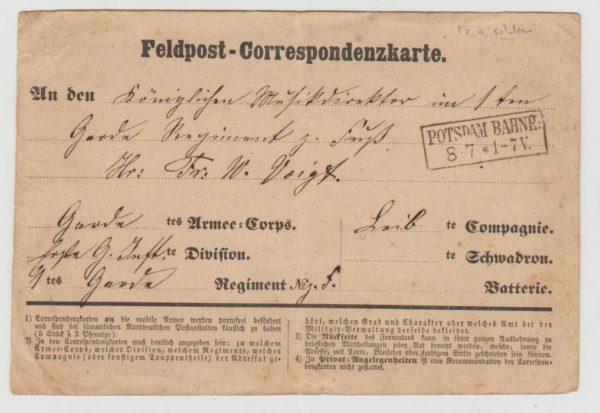 FRANCO-PRUSSIAN WAR GERMAN FELDPOST CARD 1870