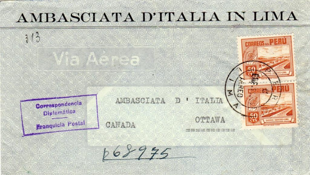 PERU: 1952 REGISTERED ITALIAN EMBASSY COVER TO CANADA.