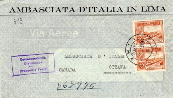 PERU: 1952 REGISTERED ITALIAN EMBASSY COVER TO CANADA.