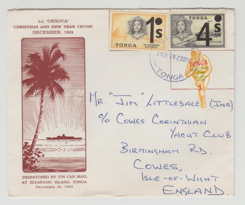 TONGA TIN CAN MAIL ENVELOPE 1969