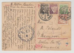 GERMAN PS CARD FRANKED WITH PORTUGAL DEFINITIVES TO GERMANY 1943