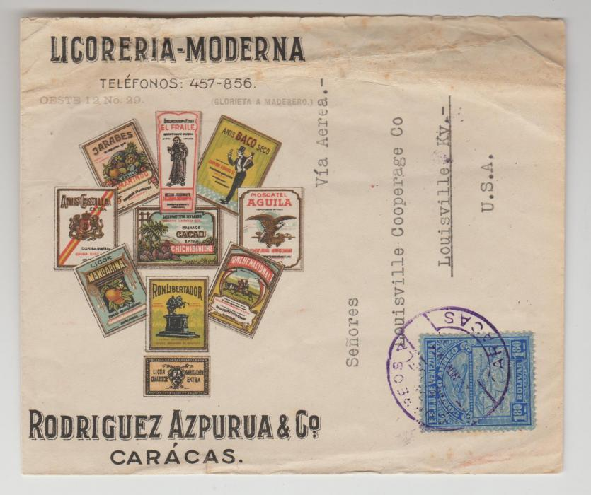 VENEZUELA COLOURFUL COVER WITH ADVERTISING C1945