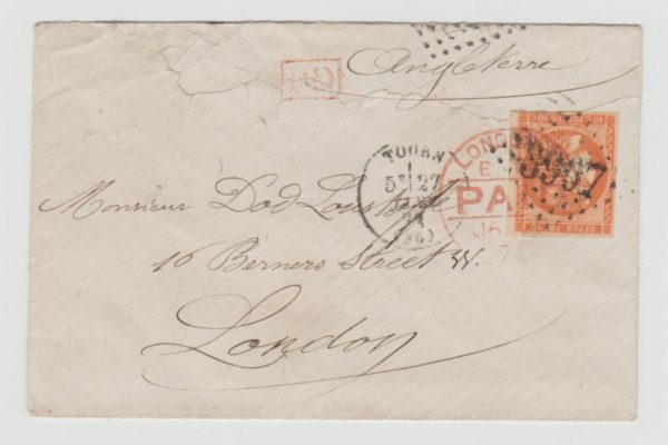 40C BORDEAUX ISSUE ON ENVELOPE JANUARY 1872