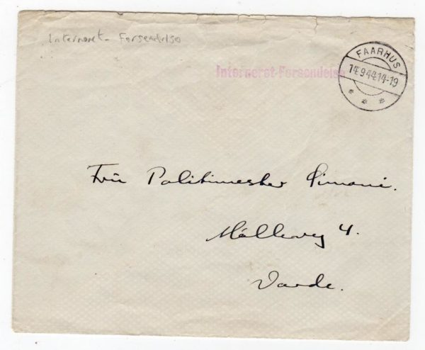 DENMARK: 1944 STAMPLESS COVER WITH A VISITING PASS FROM AN INTERNMENT CAMP.