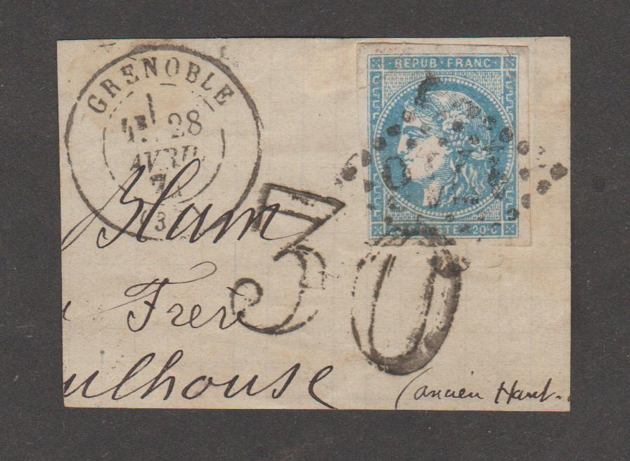 29-048  France 20c Bordeaux with double franking cachet (on fragment)