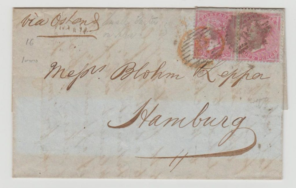 GB 1856 2 x QV 4d rose on blued paper (SG62) to Hamburg