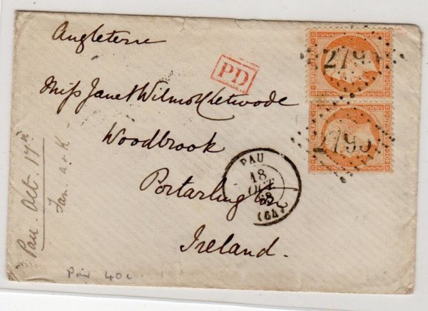 FRANCE: 1863 COVER TO IRELAND.
