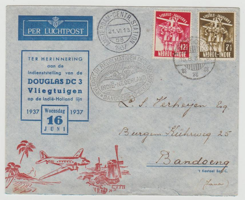 Netherlands Indies World Scout Jamboree 1937 Airmail envelope
