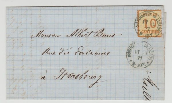 Alsace 10c Occupation issue on cover 1871