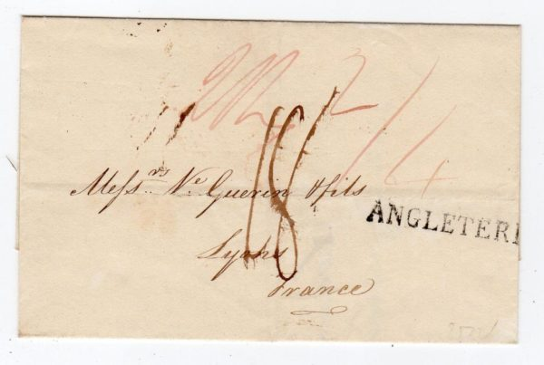 GB-LONDON: 1816 PRE-STAMP COVER TO FRANCE WITH FORWARDING AGENT'S ENDORSEMENT.
