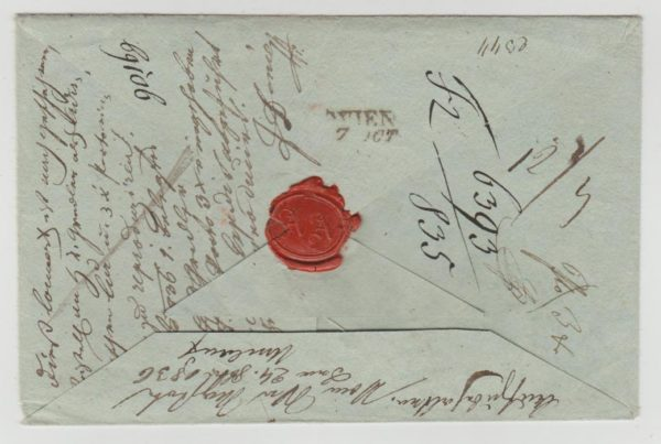 re-folded into an envelope 1836
