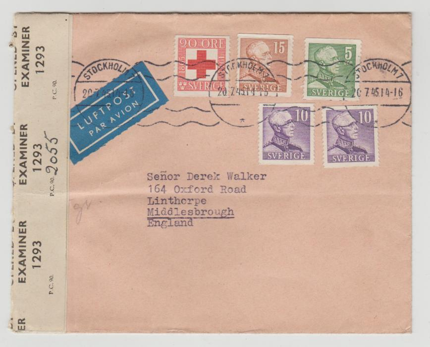 Sweden 1945 Red Cross censored to GB