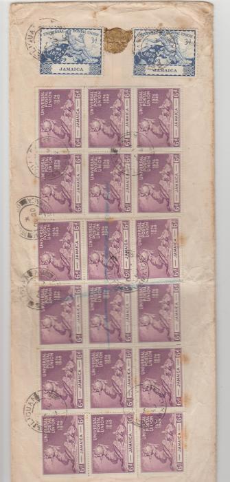 Jamaica UPU 1949 multi-franked envelope