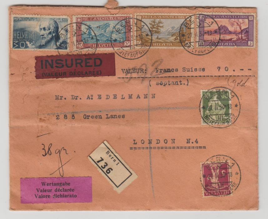Switzerland registered insured cover to London 1930