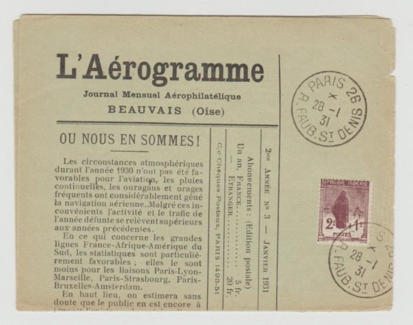 "France ""L'Aérogramme"" journal used Paris 1931"