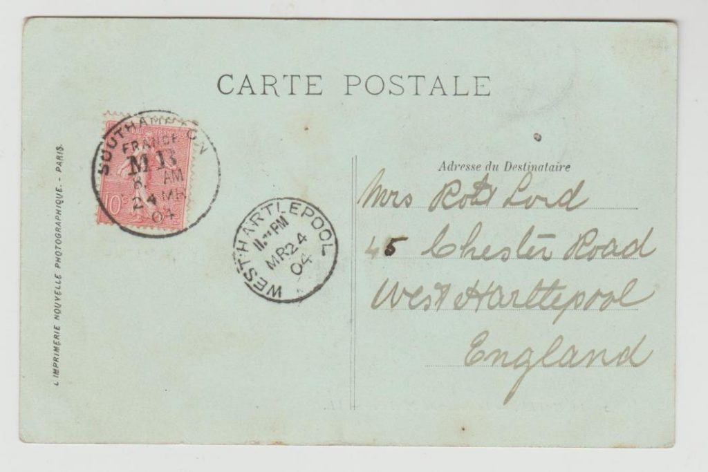 1904 Postcard with 10c Sower cancelled Southampton France MB