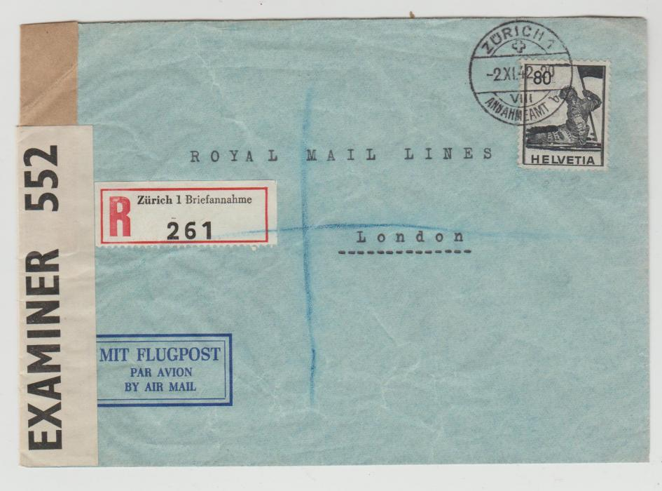 Switzerland censored cover to London 1942