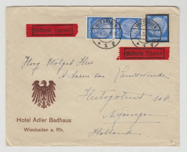 Germany Express letter to Holland 1935