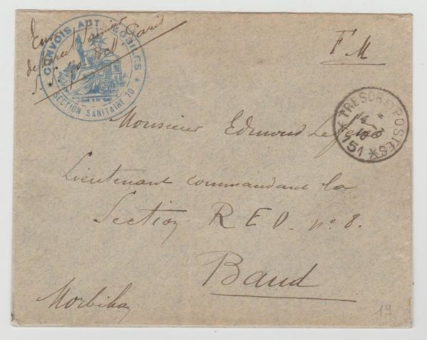 France military envelope 1918 with T & P 151 & cachet