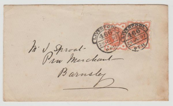 GB 2 x QV 1/2d orange cancelled with Liverpool hooded datestamps