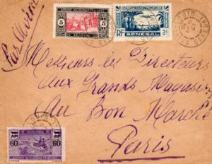 MAURITANIA/SENEGAL: 1938 MIXED FRANKING AIRMAIL COVER TO FRANCE.