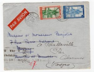 FRENCH SOUDAN: 1935 REDIRECTED AIRMAIL COVER TO FRANCE.