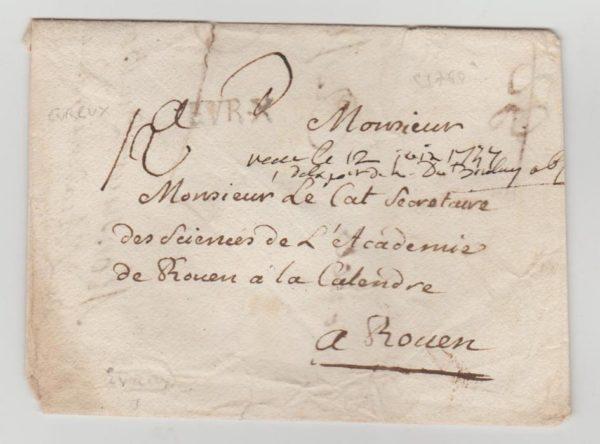 France 1747 envelope Evreux to Rouen