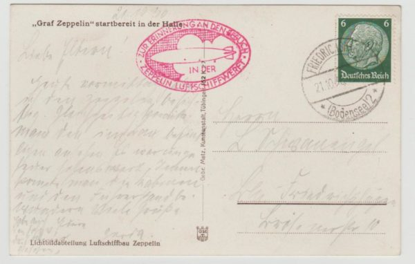 Germany Airmail card by Zeppelin 1936