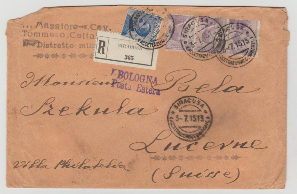 Italy registered to Lucern 1915