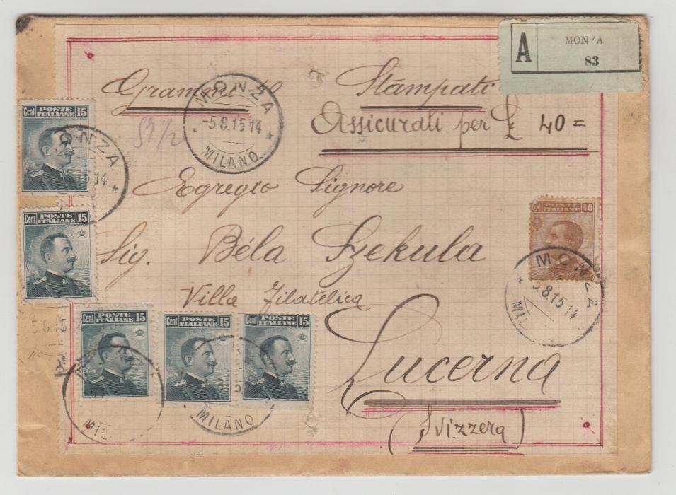 Italy registered Monza to Lucerne 1915