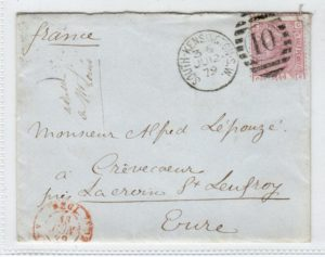 GB-LONDON: 1879 COVER TO FRANCE.