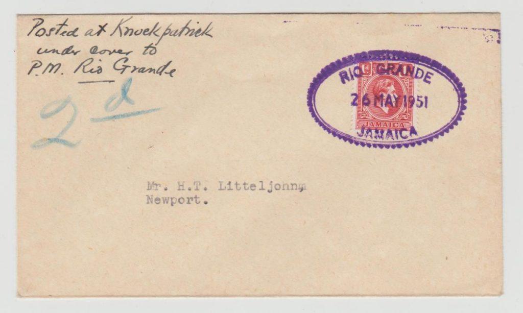 Jamaica Postal Agency Rio Grande 1951