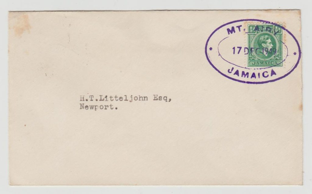 Jamaica Postal Agency Mt. Airy 1949