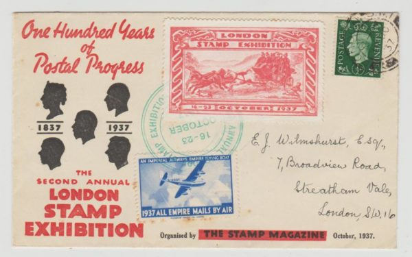 London Stamp Exhibition 1937 souvenir envlope used locally
