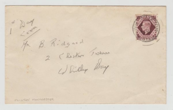 GB KGVI 11d used alone on FDC