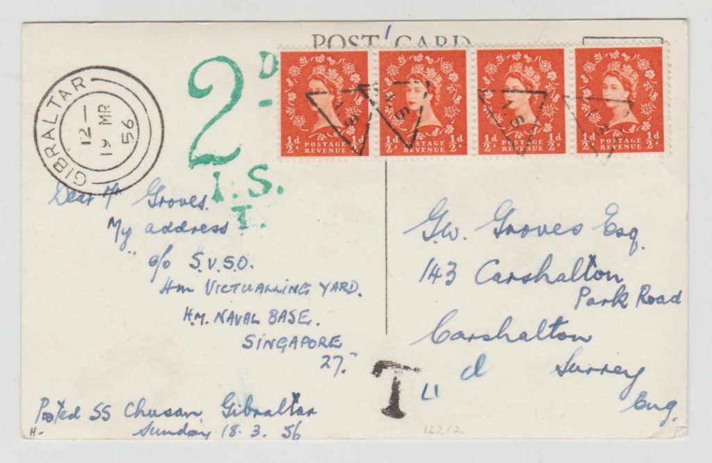 Postard from ship at Gibraltar to UK with postage due