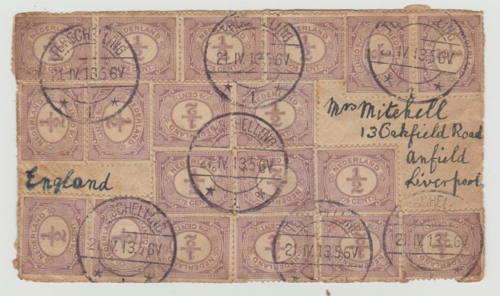 Holland to Liverpool multi-franking 1913