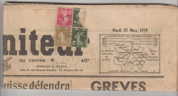 French newspaper posted 1938