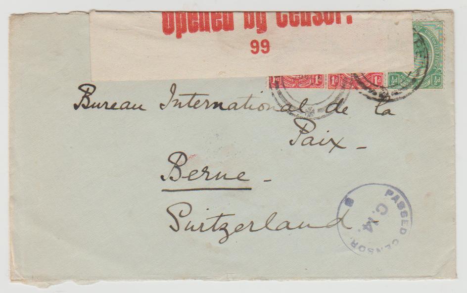 South Africa Wynberg to Switzerland 1917