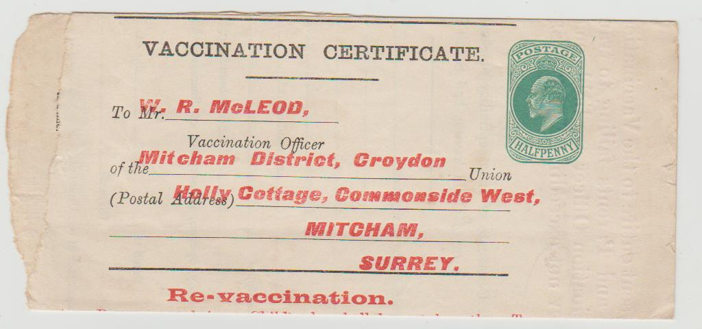GB vaccination certificate