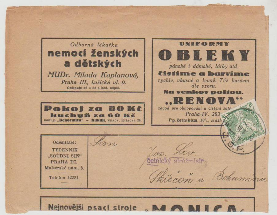 Czechoslovakia Newspaper Post 1919