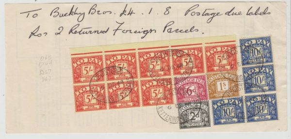 GB Postage Due on P.O. Foreign Parcels form 1968