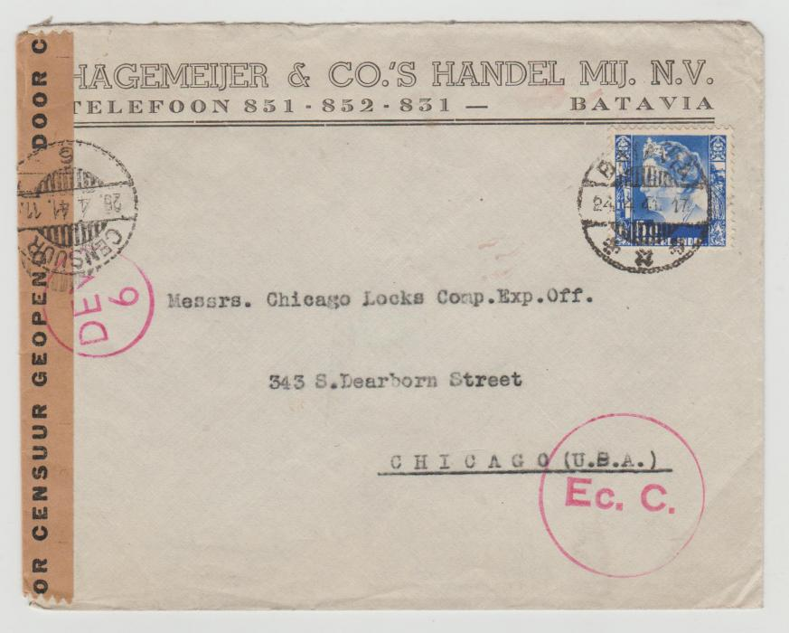 Dutch East Indies to Chicago 1941 censored