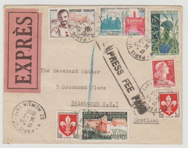 France Express Letter to Scotland 1959