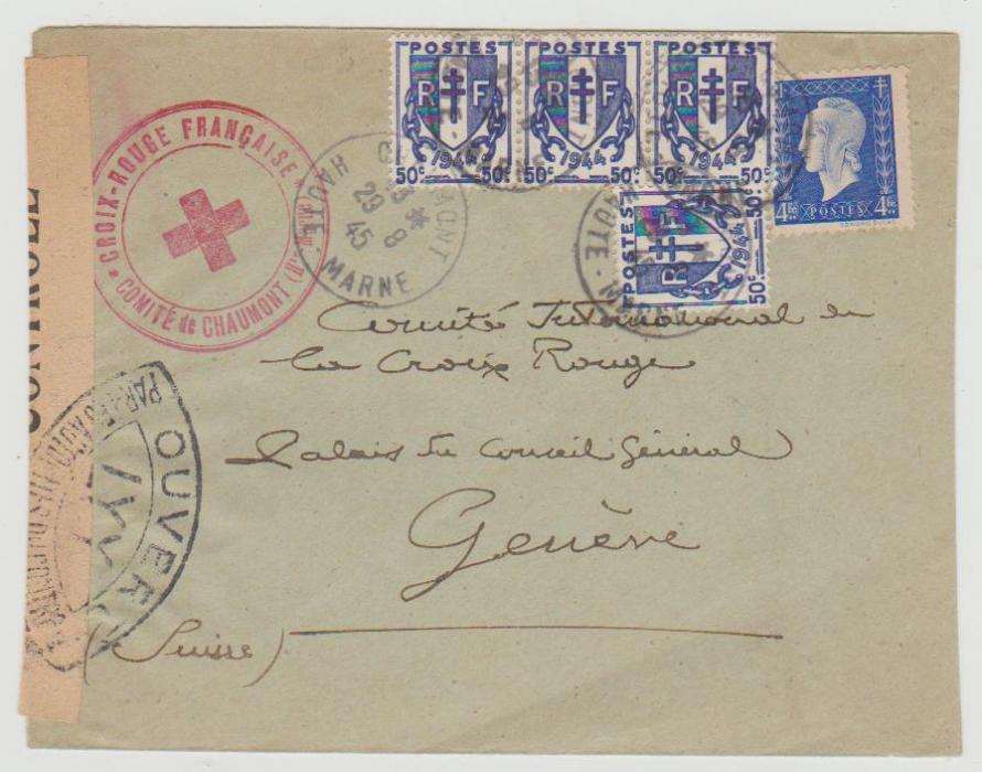 France Red Cross 1945 censored