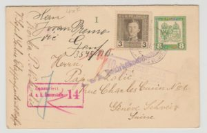 Austrian Occupation of Serbia censored reply paid card 1918