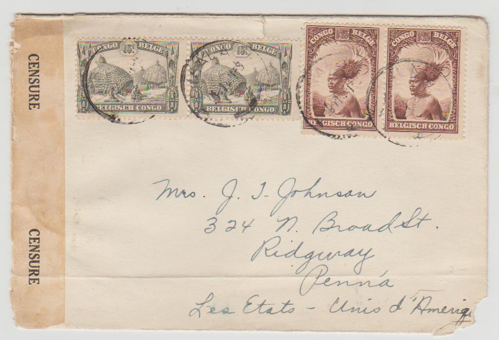 Belgian Congo to USA 1941 Censored