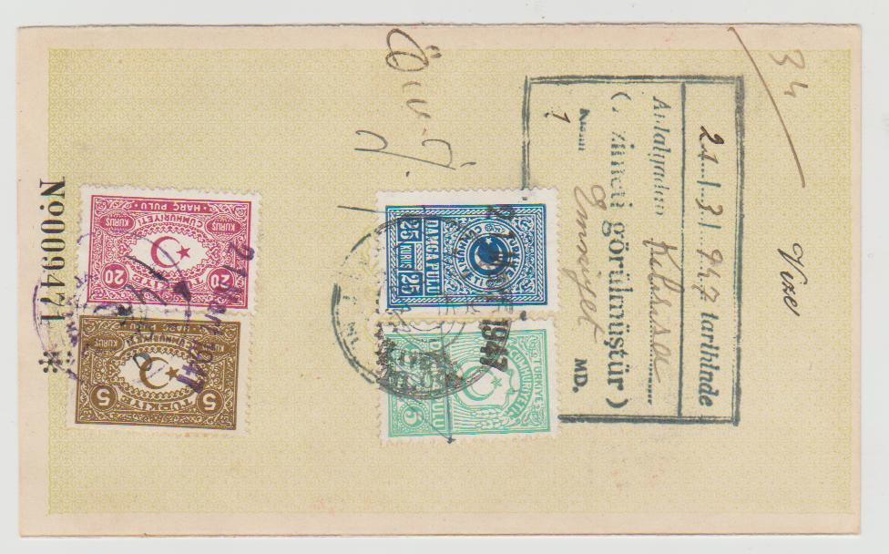 Turkey Passport Page 1947 with fiscal stamps